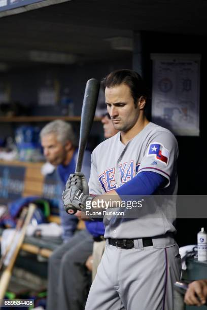 Pete Kozma of the Texas Rangers prepares to bat against the Detroit Tigers at Comerica Park on May 21 2017 in Detroit Michigan