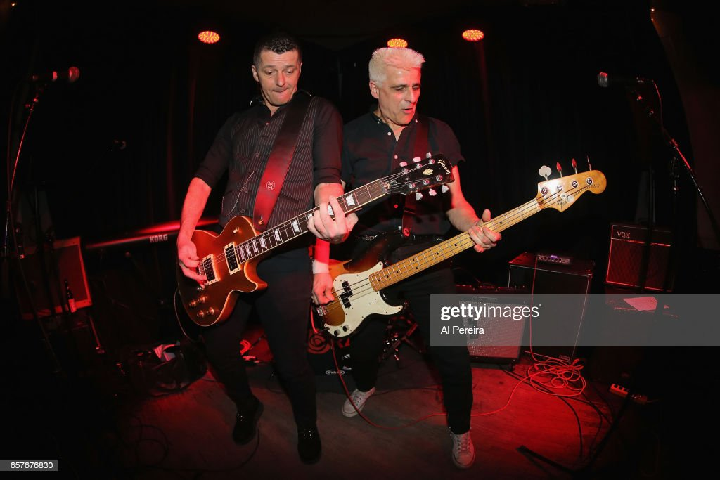 Pete Ley, Phil Ley of The Guitar Gangsters open when The Kurt Baker Combo performs at Berlin on March 24, 2017 in New York City.