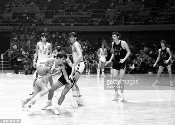 Pete Maravich of Louisiana State Tigers dribbles during the 1969 Rainbow Classic Tournament against the Yale Bulldogs on December 30 1969 in Honolulu...
