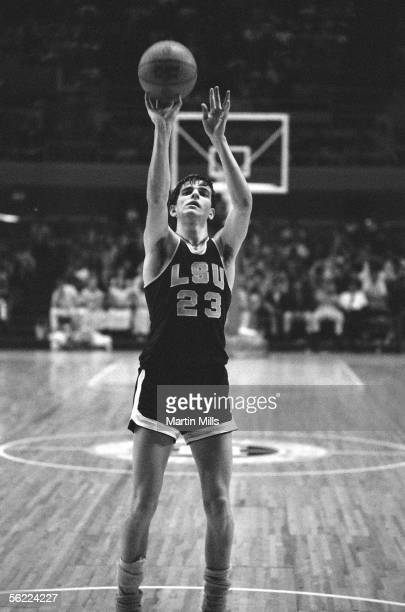 Pete Maravich of Louisiana State Tigers shoots the ball during the 1969 Rainbow Classic Tournament against the St Johns Red Storm on December 291969...