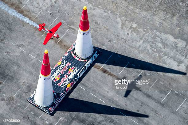 Pete McLeod of Canada performs during the training session for the seventh stage of the Red Bull Air Race World Championship at the Las Vegas Motor...