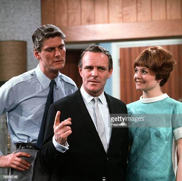 """Pete Murray, Dickie Henderson and Isla Blair are pictured during filming of the """"Dickie Henderson Show"""""""
