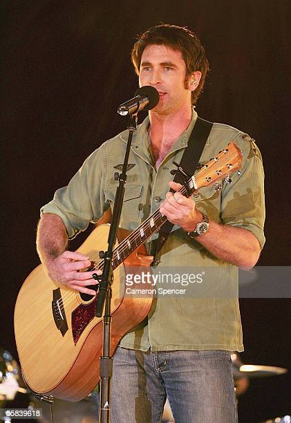 Pete Murray performs during the entertainment prior to the NRL Grand Final between the Wests Tigers and the North Queensland Cowboys at Telstra...