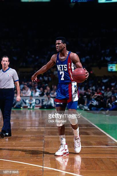Pete Myers of the New Jersey Nets looks to make a play against the Boston Celtics during a game played in 1990 at the Boston Garden in Boston...