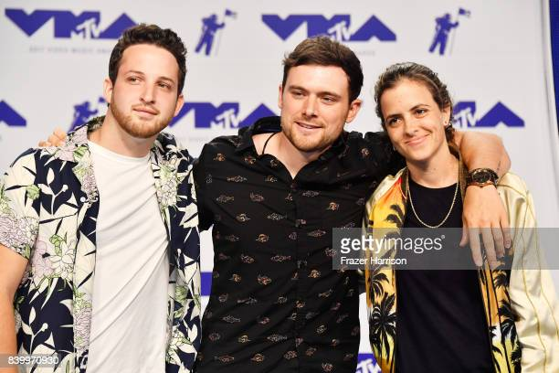 Pete Nappi Ethan Thompson and Samantha Ronson of Ocean Park Standoff attend the 2017 MTV Video Music Awards at The Forum on August 27 2017 in...
