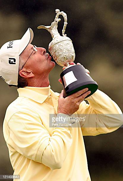 Pete Oakley kisses the trophy after winning the 2004 Senior British Open at the Royal Portrush Golf Club
