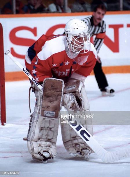 Pete Peeters of the Washington Capitals skates against the Toronto Maple Leafs during NHL game action on January 11 1989 at Maple Leaf Gardens in...