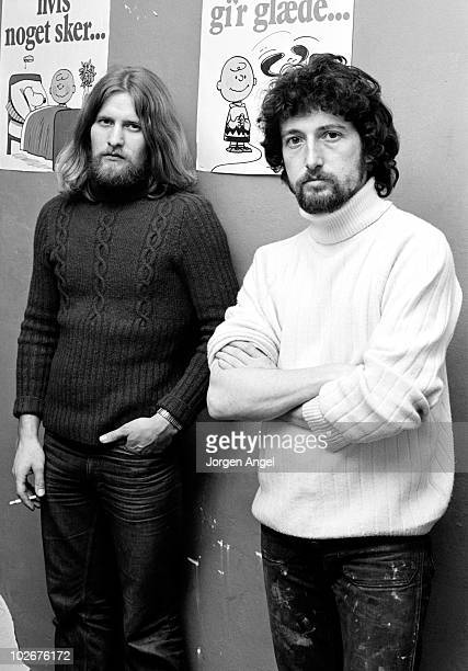 Pete Quaife former bassist with The Kinks with his business partner Steen Andre Andersen at their recording studio Arbejdsstudierne in January 1972...