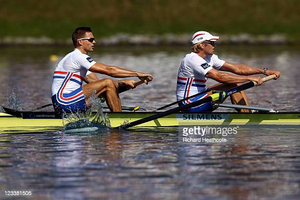Pete Reed and Andrew Triggs Hodge of Great Britain cruise through their Men's Pair semi final during day six of the FISA Rowing World Championships...