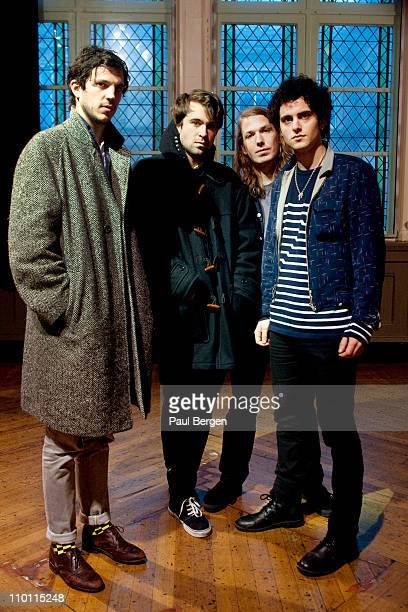 Pete Robertson Justin Young and Anri Hjorvar and Freddie Cowan of The Vaccines pose for a portrait backstage at Paradiso on February 26 2011 in...