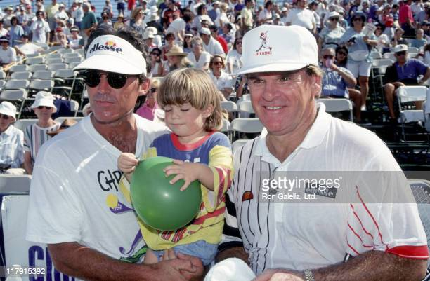Pete Rose and Andy Mills with son during Chris Evert Celebrity Tennis Classic at Boca Raton Resort Club in Boca Raton Florida United States