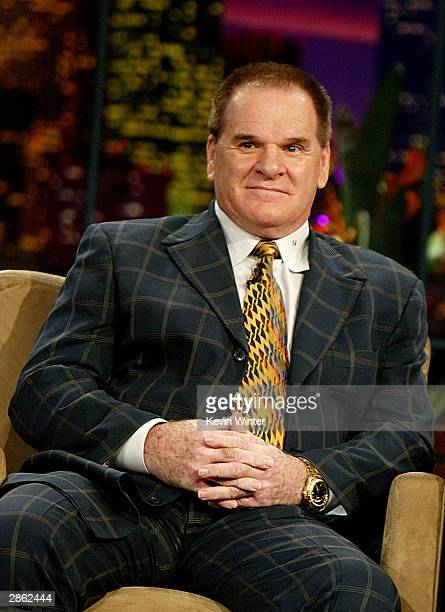 Pete Rose appears on The Tonight Show with Jay Leno at the NBC Studios January 12 2004 in Burbank California