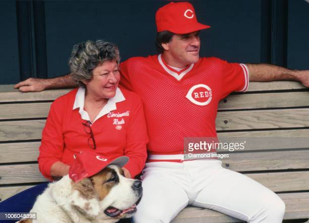 Pete Rose Marge Schott and Schottzie of the Cincinnati Reds dugout portrait from his 1985 season with the Cincinnati Reds Pete Rose played for 24...