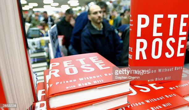 """Pete Rose My Prison Without Bars"""" , Pete Rose's new autobiography is displayed as fans stand in line waiting to get their books signed by Rose..."""