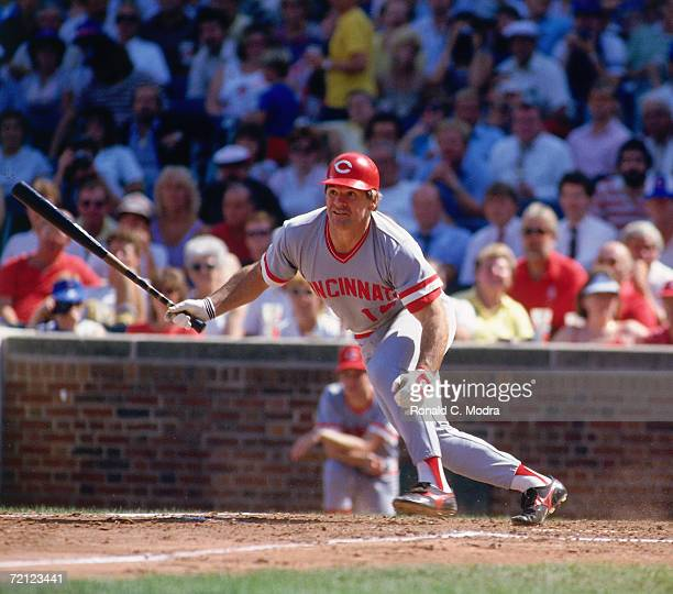 Pete Rose of the Cincinnati Reds hitting against the Chicago Cubs in Wrigley Field in September 1985 in Chicago Illlinois