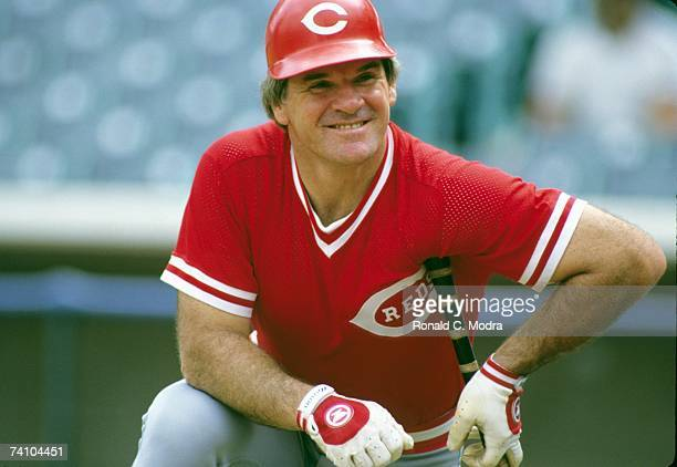 Pete Rose of the Cincinnati Reds prior to a game against the Chicago Cubs in September 1985 in Chicago Illinois