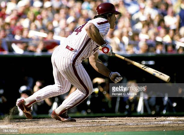 Pete Rose of the Philadelphia Philles batting during Game 4 of the 1983 World Series against the Baltimore Orioles on October 15 1983 in Philadelphia...