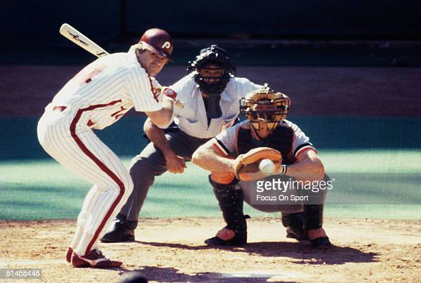 Pete Rose of the Philadelphia Phillies bats against the Baltimore Orioles during the World Series at Veterans Stadium in October 1983 in Philadelphia...
