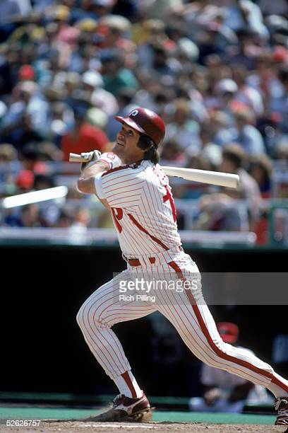 Pete Rose of the Philadelphia Phillies bats during a 1982 season game at Veterans Stadium in Philadephia Pennsylvania Pete Rose played for the...