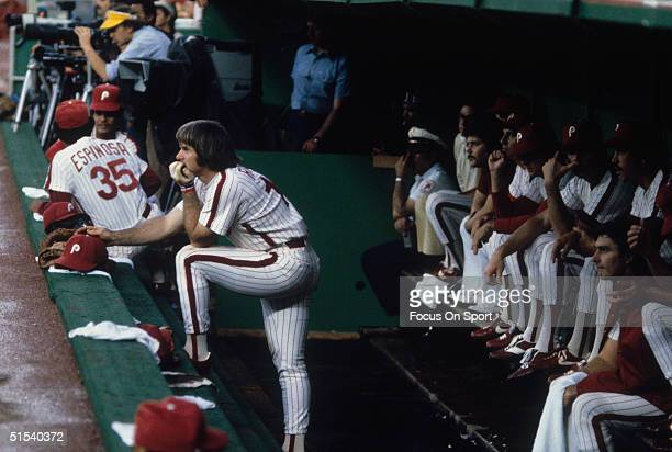 Pete Rose of the Philadelphia Phillies studies the opposing pitcher at Veterans Stadium during the 1980s in Philadelphia Pennsylvania