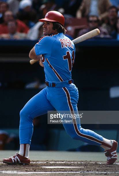 Pete Rose of the Philadelphia Phillies swings during the World Series against the Kansas City Royals at Royals Stadium in Kansas City Missouri in...