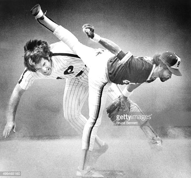Pete Rose of the Philadelphia Phillies takes out Ozzie Smith of the San Diego Padres on June 16 1980 at Veterans Stadium in Philadelphia Pennsylvania