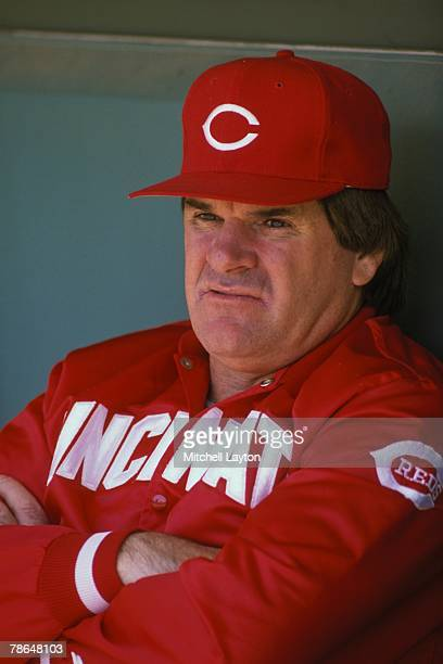 Pete Rosemanager of the Cincinnati Reds during a baseball game against the Philadelphia Phillies on June 1 1996 at Veterans Stadium in Philadelphia...