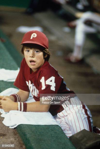 Pete Rose's son Petey on the dugout steps at Veterans Stadium during the 1970s in Philadelphia Pennsylvania