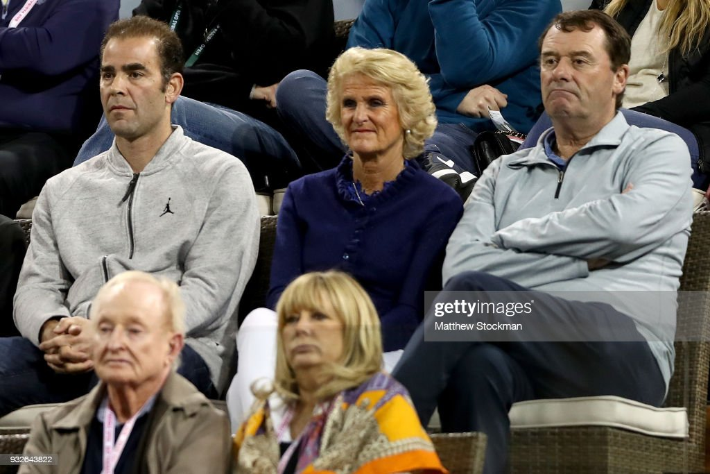 Pete Sampras, Gill Brook and Wimbledon Chairman Phillip Brook watch Roger Federer of Switzerland play Hyeon Chung of Korea during of the BNP Paribas Open at the Indian Wells Tennis Garden on March 15, 2018 in Indian Wells, California.