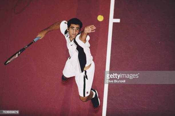 Pete Sampras of the United States serves against Magnus Gustafsson during their Men's Second round match at the Eurocard Open Stuttgart Masters...