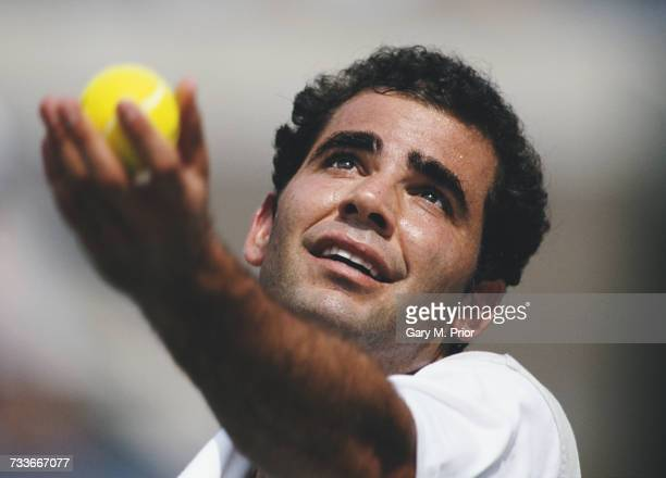 Pete Sampras of the United States serves to Martin Damm during their Men's Singles first round match at the US Open Tennis Championship on 2...