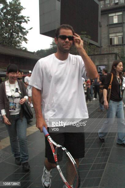 Pete Sampras of United States visits the China Lane before the 2010 Chengdu Open on October 21, 2010 in Chengdu, Sichuan Province of China. The...