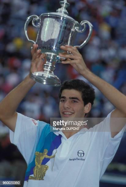 Pete Sampras vaiqueur du tournoi simple messieurs de l'US Open de tennis de Flushing Meadows le 9 septembre 1990 à New York EtatsUnis