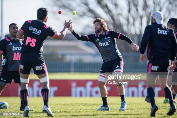 Rugby balls are seen during the Crusaders Super Rugby captain's run at Rugby Park on July 20 2018 in Christchurch New Zealand