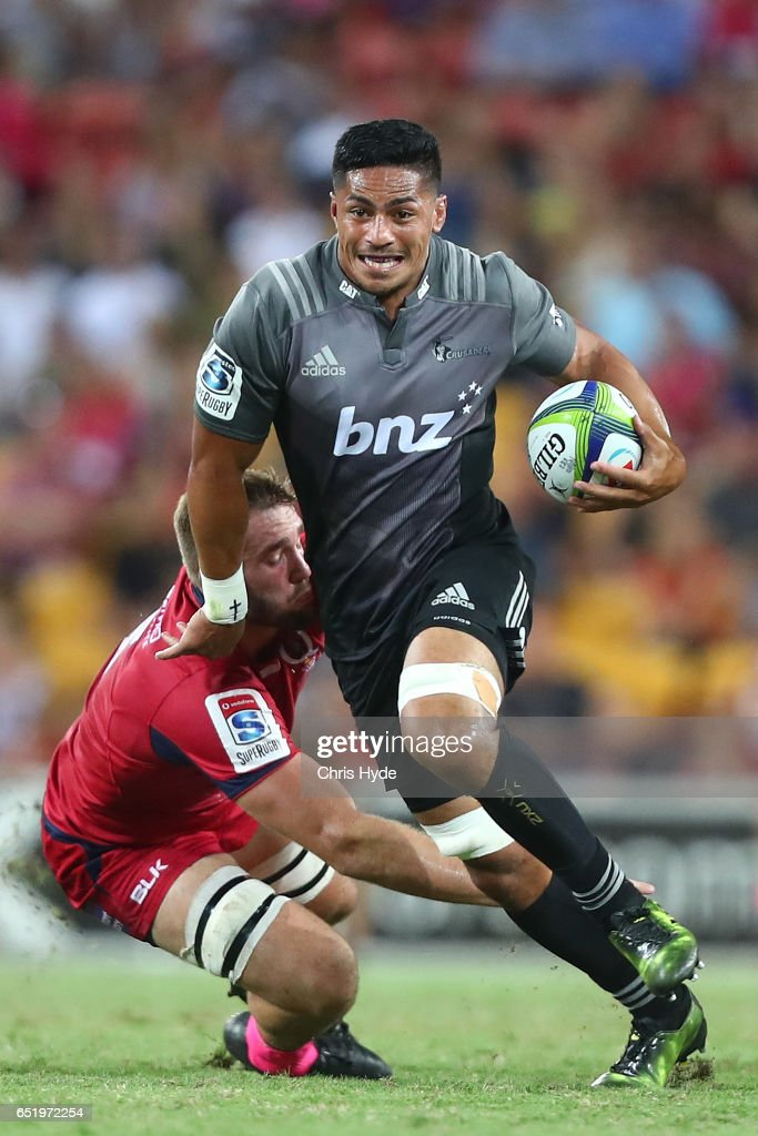 Pete Samu of Crusaders runs the ball during the round three Super Rugby match between the Reds and the Crusaders at Suncorp Stadium on March 11, 2017 in Brisbane, Australia.