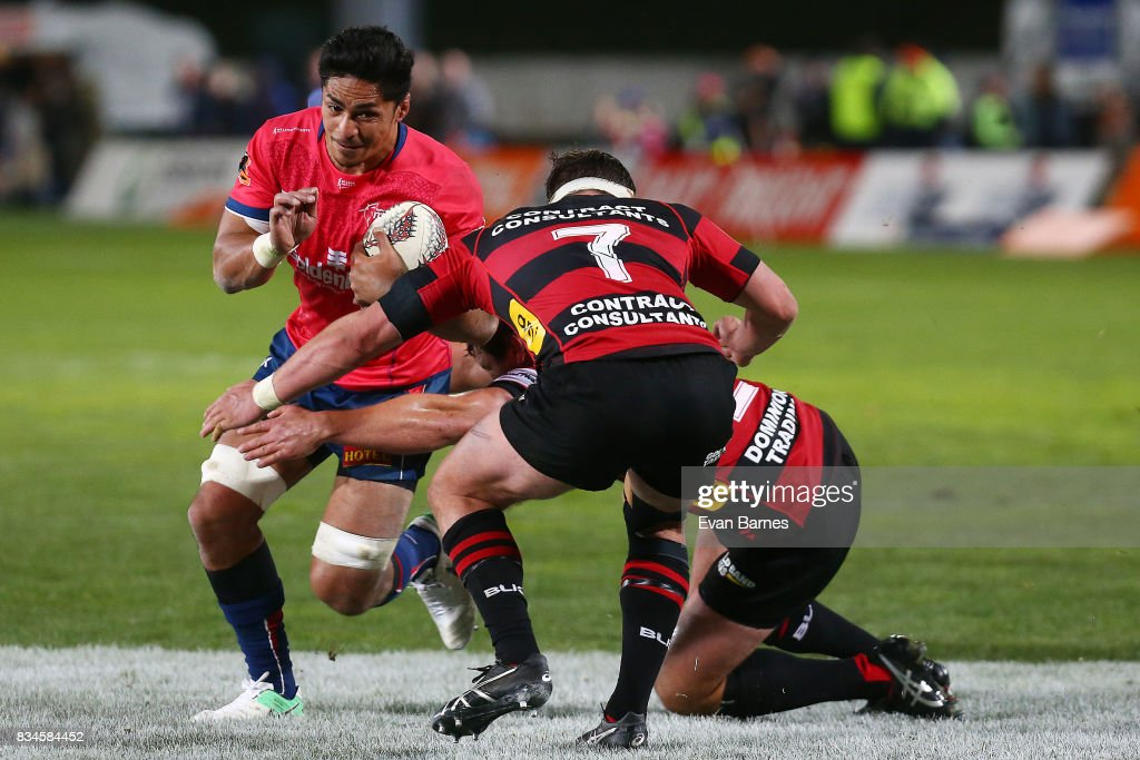 Pete Samu of Tasman tries to break the defence during the during the Mitre 10 Cup round one match between Tasman and Canterbury at Trafalgar Park on August 18, 2017 in Nelson, New Zealand.