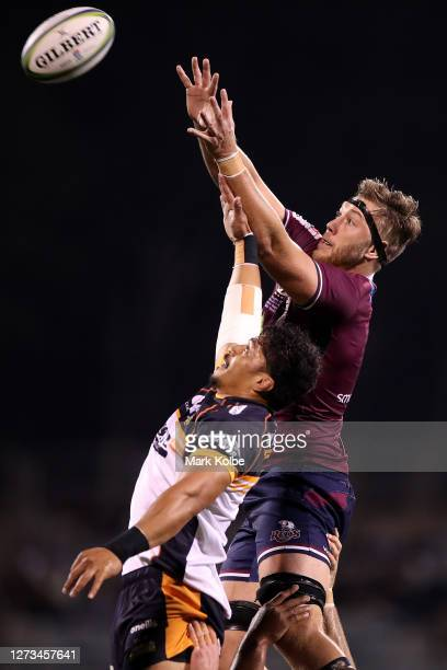Pete Samu of the Brumbies and Angus Blyth of the Reds compete in a line out during the Super Rugby AU Grand Final between the Brumbies and the Reds...