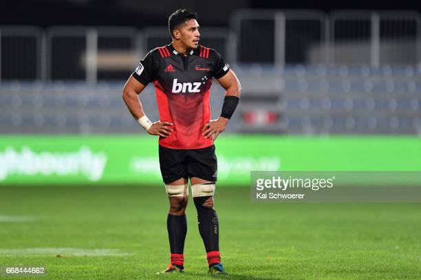 Pete Samu of the Crusaders reacting during the round eight Super Rugby match between the Crusaders and the Sunwolves at AMI Stadium on April 14 2017...
