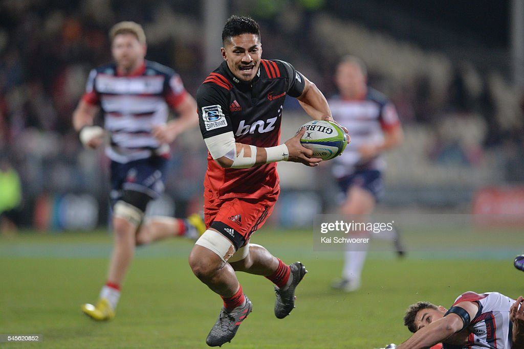 Pete Samu of the Crusaders runs through to score a try during the round 16 Super Rugby match between the Crusaders and the Rebels at AMI Stadium on July 9, 2016 in Christchurch, New Zealand.