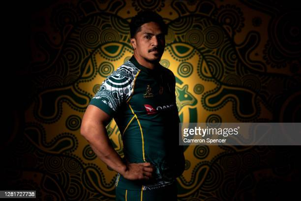 Pete Samu of the Wallabies poses during the Australian Wallabies 2020 First Nations Jersey portrait session on October 22 2020 in the Hunter Valley...