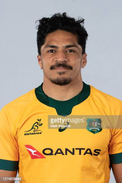 Pete Samu poses during the Australian Wallabies rugby team headshots session at the Crowne Plaza on September 21 2020 in the Hunter Valley Australia