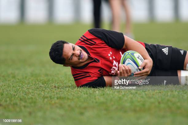 Pete Samu takes part in a drill during a Crusaders Super Rugby training session at Rugby Park on August 2 2018 in Christchurch New Zealand