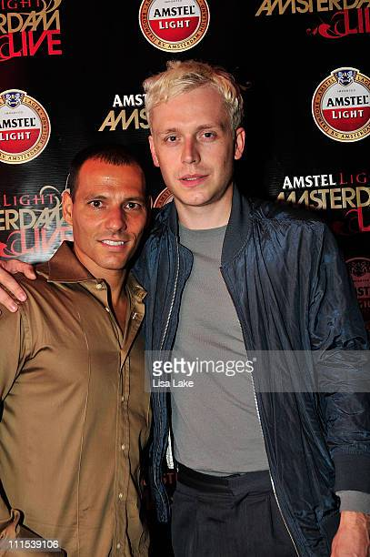 Pete Santaniello of Heineken USA and musician Ben Hudson of Mr Hudson attend the Amstel Light Amsterdam Live event at The Theater of Living Arts on...
