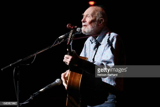 Pete Seeger performs on stage during the Bring Leonard Pelitier Home 2012 Concert at Beacon Theatre on December 14 2012 in New York City