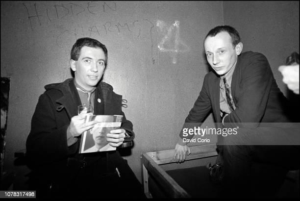 Pete Shelley Howard Devoto backstage at The Venue London UK on 23 March 1982