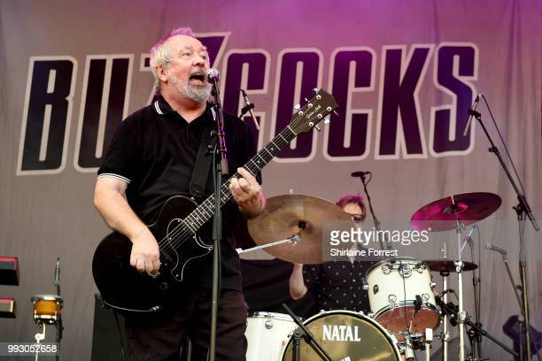 Pete Shelley of Buzzcocks performs during Sounds of the City at Castlefield Bowl on July 6 2018 in Manchester England
