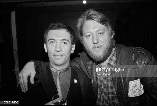 Pete Shelley producer Martin Rushent backstage at The Venue London UK on 23 March 1982