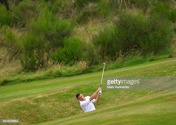 Pete Talbot of Farnham Golf Club plays a bunker shot to the 18th during the first round of the Lombard Trophy Grand Final at Gleneagles on September...