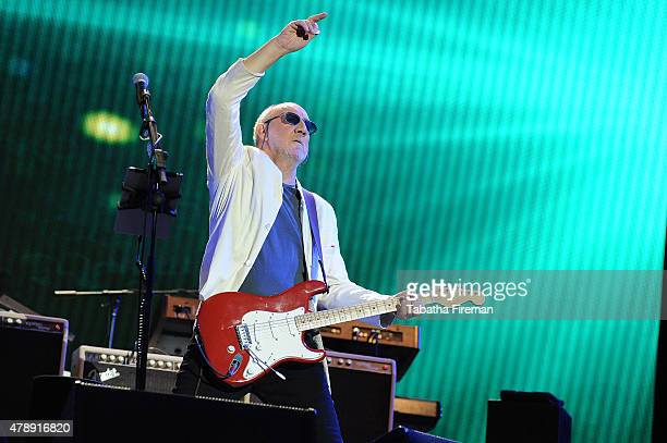 Pete Townsend of The Who performs as headlining act on the Pyramid stage at the Glastonbury Festival at Worthy Farm, Pilton on June 28, 2015 in...