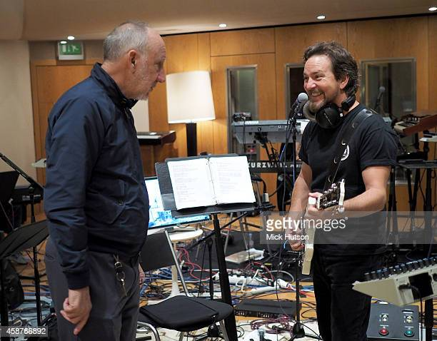 Pete Townshend and Eddie Vedder during rehearsals for The Who's 50th Anniversary Gig for The Teenage Cancer Trust at British Grove Studios on...